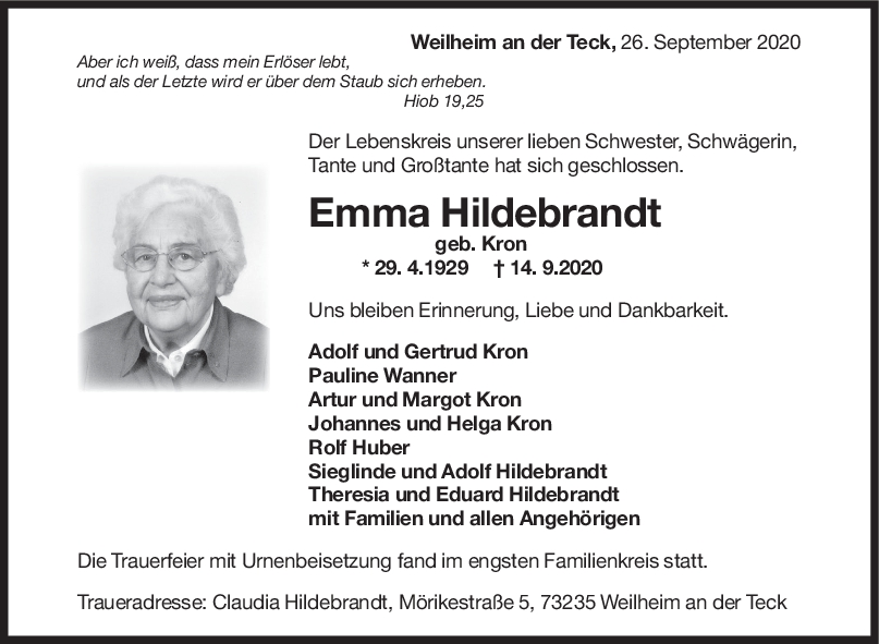 Trauer Emma Hildebrandt <br><p style=