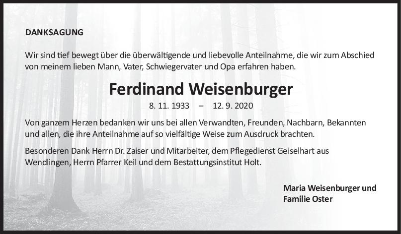 Danksagung Ferdinand Weisenburger <br><p style=