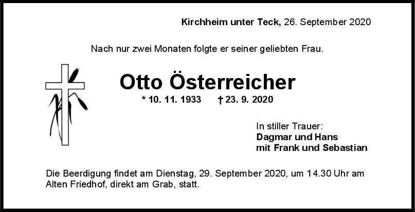 Trauer Otto Österreicher <br><p style=