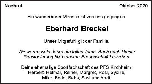 Nachrufe Eberhard Breckel <br><p style=