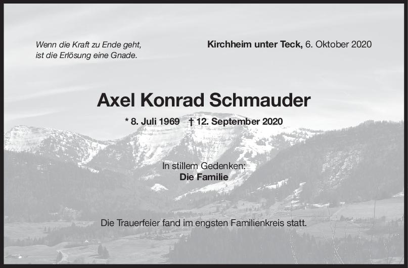 Trauer Axel Konrad Schmauder <br><p style=