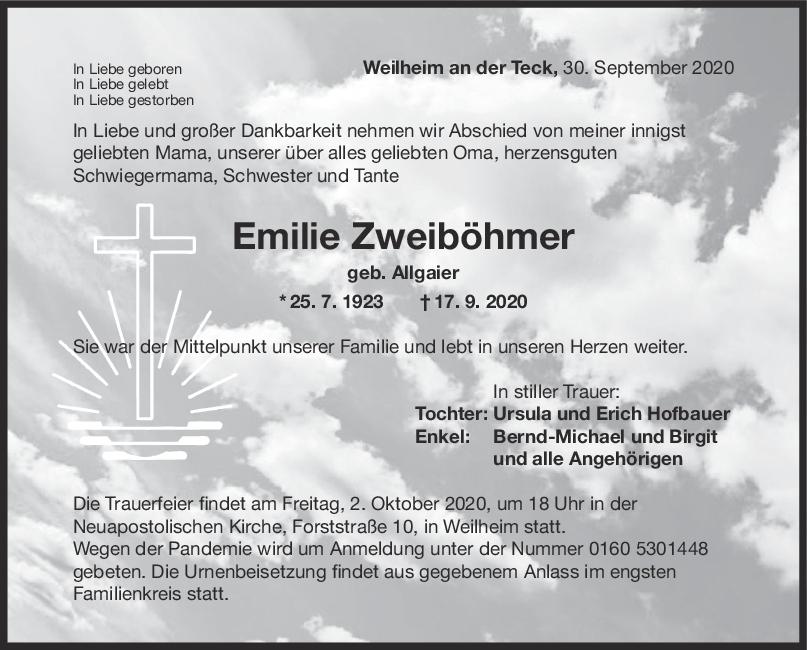 Trauer Emilie Zweiböhmer <br><p style=