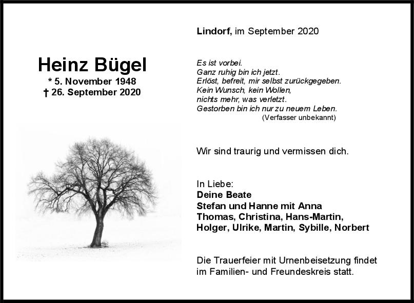 Trauer Heinz Bügel <br><p style=