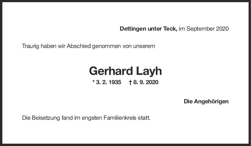 Trauer Gerhard Layh <br><p style=