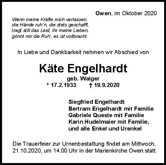 Trauer Käte Engelhardt <br><p style=