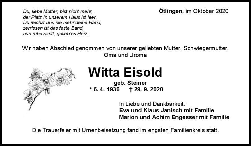 Trauer Witta Eisold <br><p style=