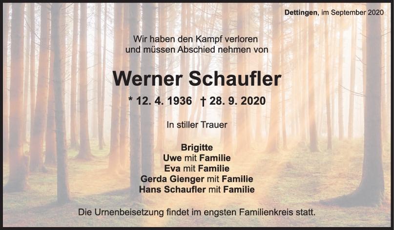 Trauer Werner Schaufler <br><p style=