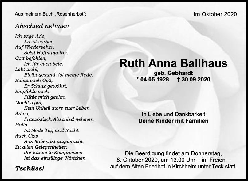Trauer Ruth Anna Ballhaus <br><p style=
