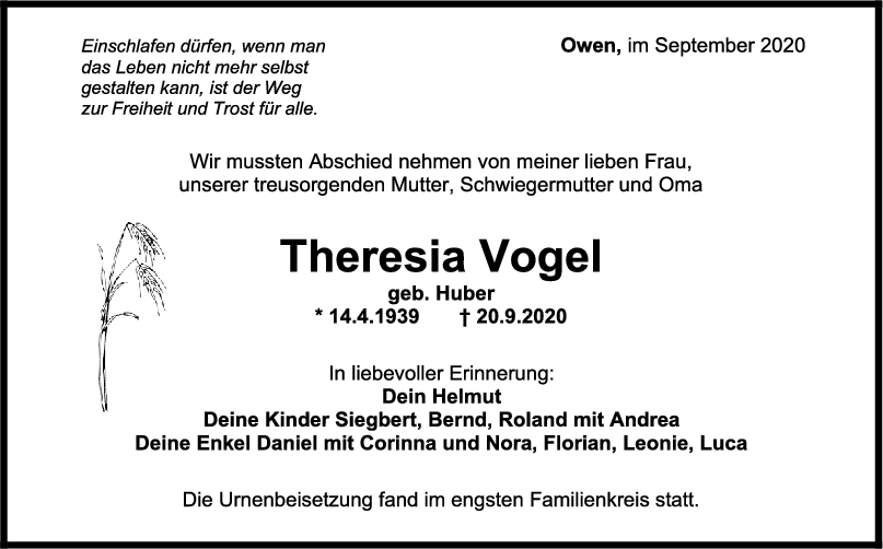Trauer Theresia Vogel <br><p style=