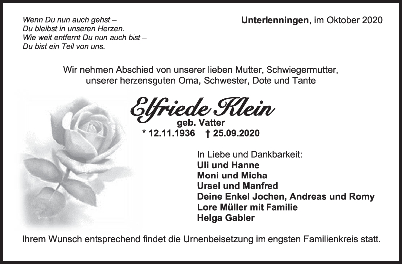 Trauer Elfriede Klein <br><p style=