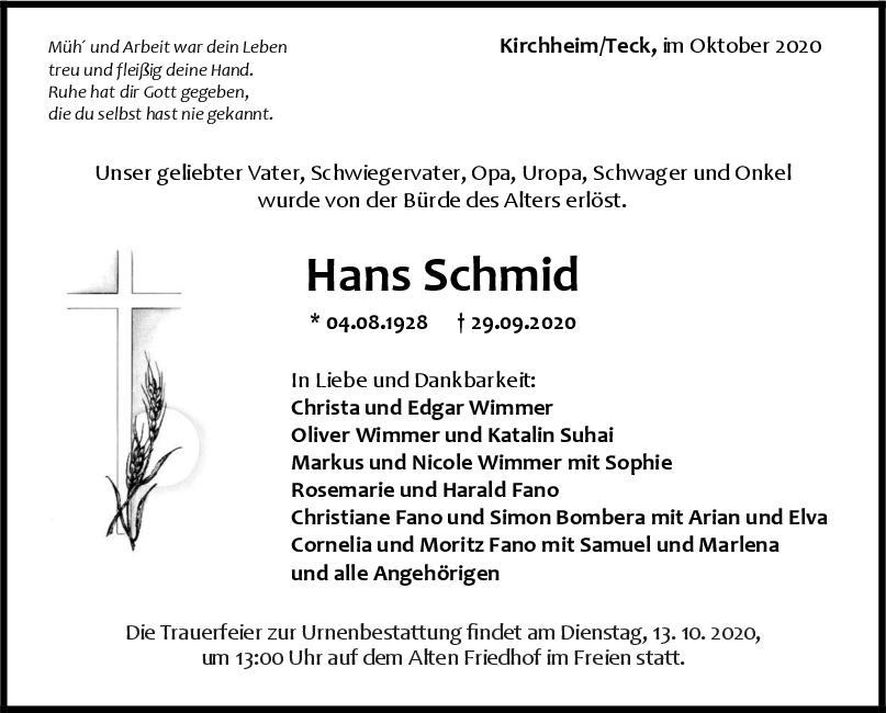 Trauer Hans Schmid <br><p style=