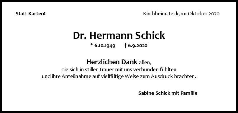 Danksagung Dr. Hermann Schick <br><p style=