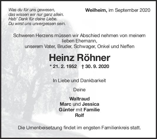 Trauer Heinz Röhner <br><p style=