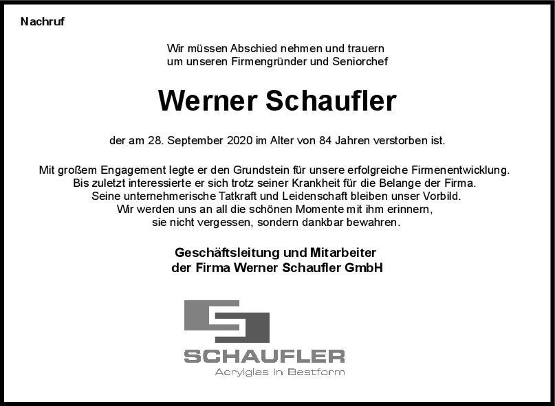 Nachruf Werner Schaufler <br><p style=
