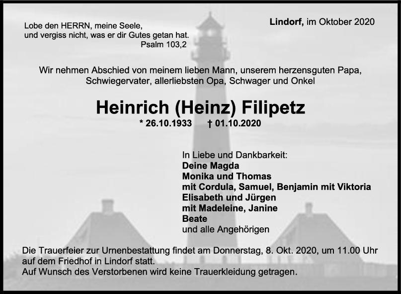 Trauer Heinrich (Heinz) Filipetz <br><p style=
