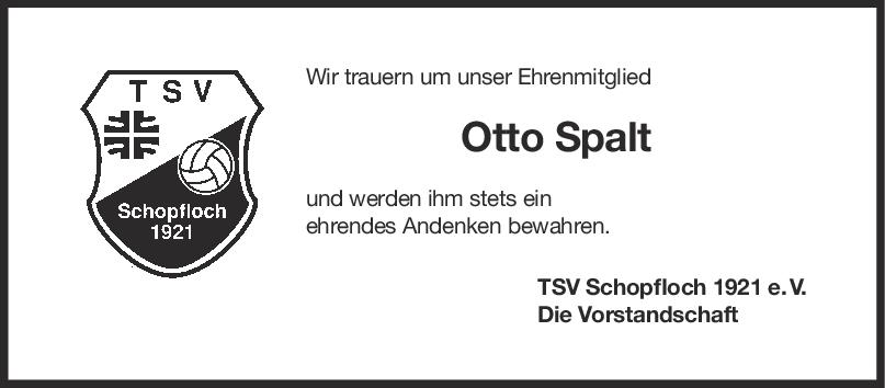 Nachruf Otto Spalt <br><p style=