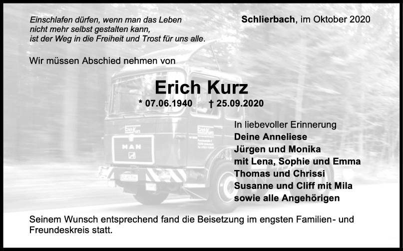 Trauer Erich Kurz <br><p style=