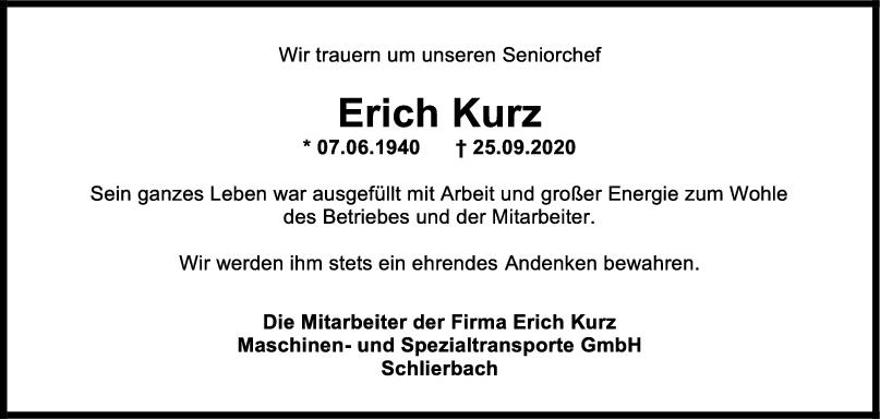 Nachruf Erich Kurz <br><p style=