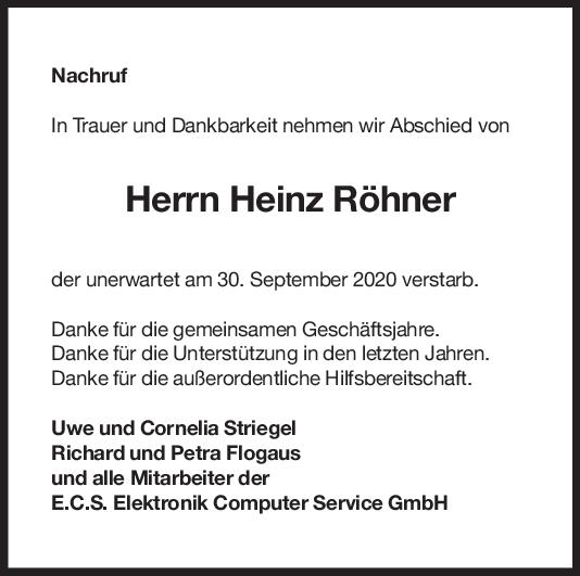Nachruf Heinz Röhner <br><p style=