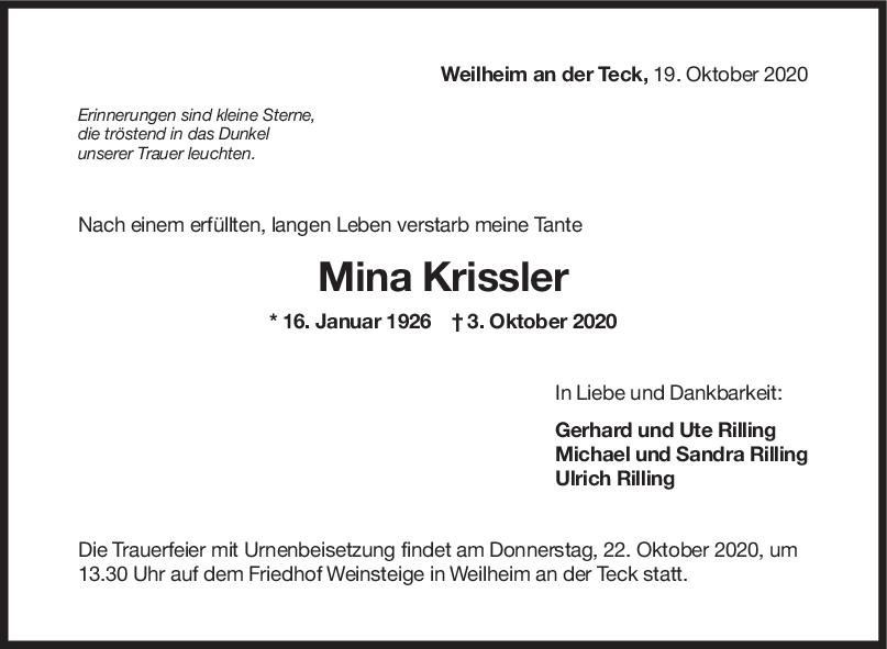 Trauer Mina Krissler <br><p style=
