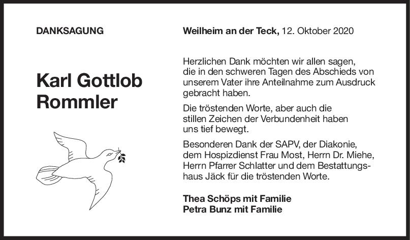 Danksagung Karl Gottlob Rommler <br><p style=