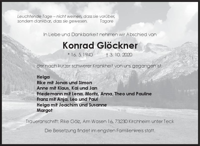 Trauer Konrad Glöckner <br><p style=