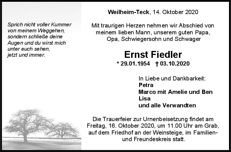 Trauer Ernst Fiedler <br><p style=