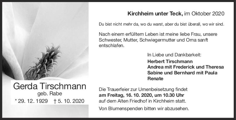 Trauer Gerda Tirschmann<br><p style=
