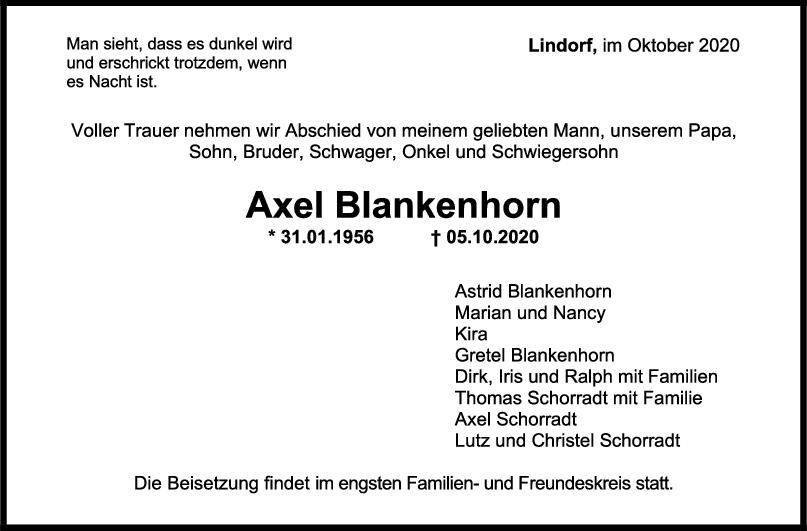 Trauernzeige Axel Blankenhorn <br><p style=