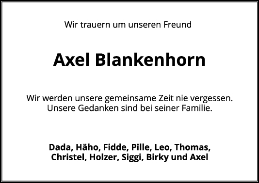Nachruf Axel Blankenhorn <br><p style=