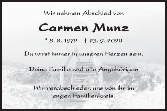 Trauer Carmen Munz <br><p style=