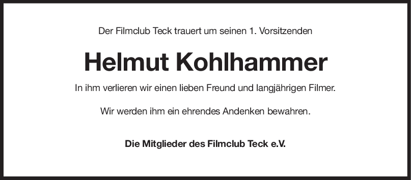 Nachruf Helmut Kohlhammer <br><p style=
