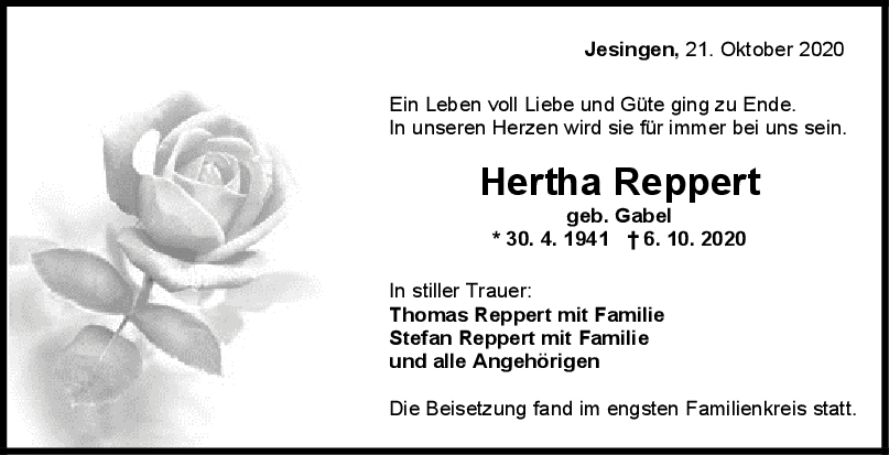 Trauer Hertha Reppert <br><p style=