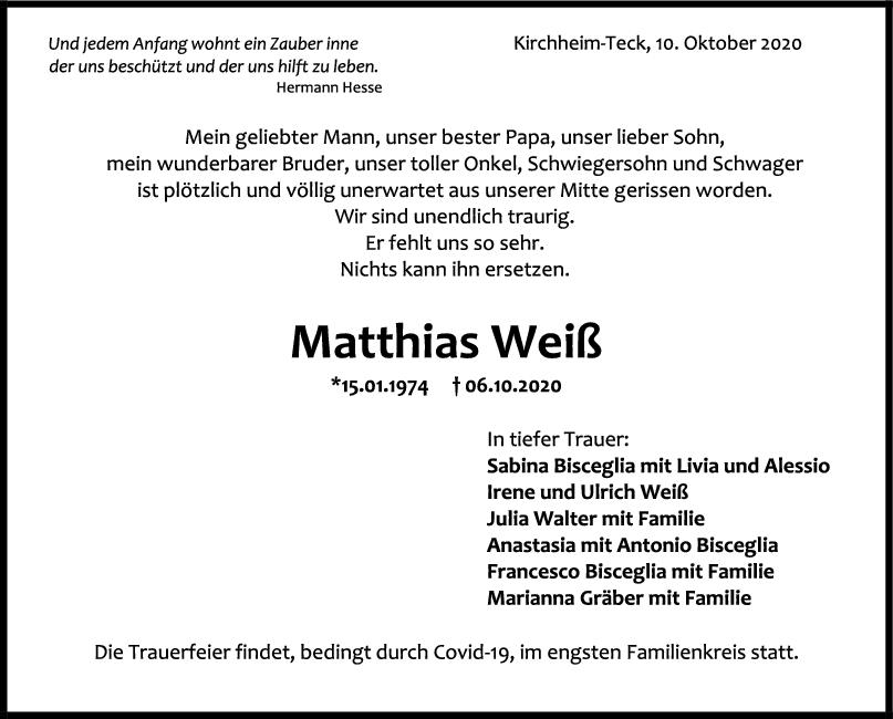 Trauer Matthias Weiß <br><p style=