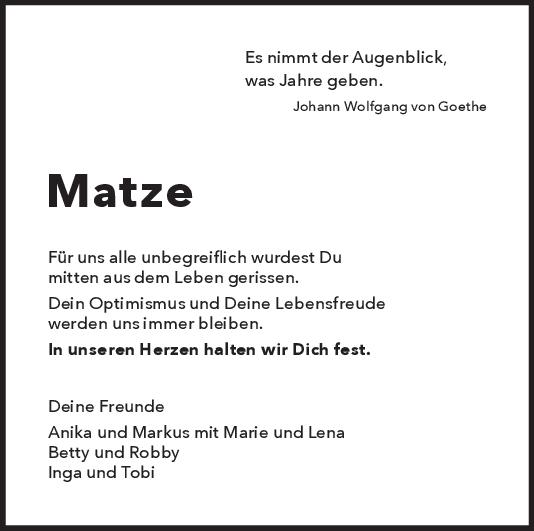 Nachruf Matthias Weiß <br><p style=