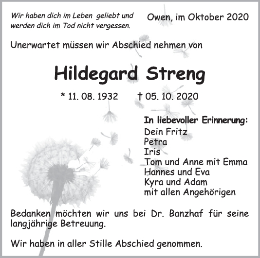 Trauer Hildegard Streng <br><p style=