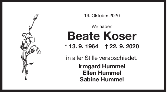 Trauer Beate Koser <br><p style=