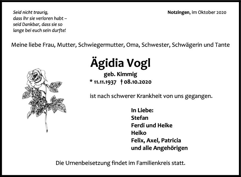 Trauer Ägidia Vogl <br><p style=