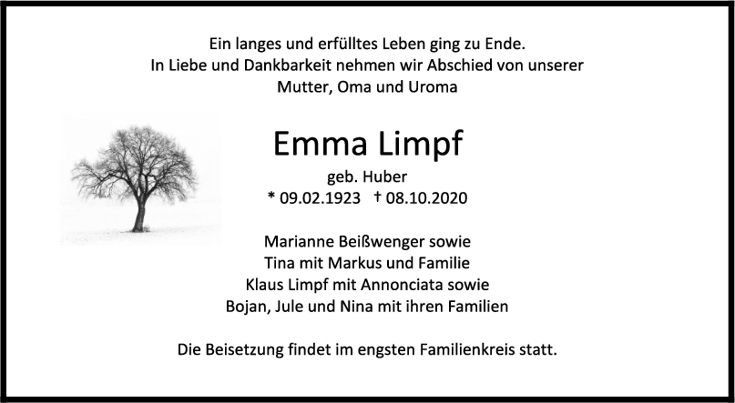 Trauer Emma Limpf <br><p style=