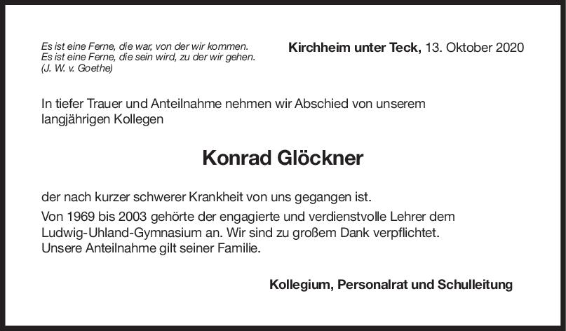 Nachruf Konrad Glöckner <br><p style=