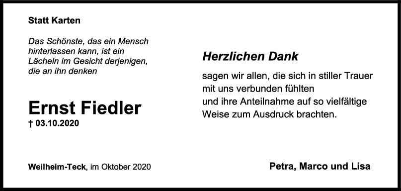 Danksagung Ernst Fiedler <br><p style=