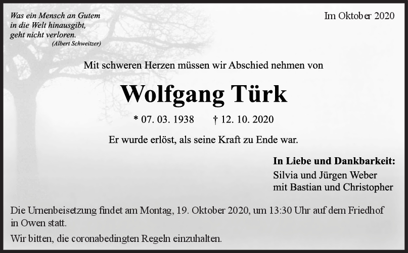 Trauer Wolfgang Türk <br><p style=