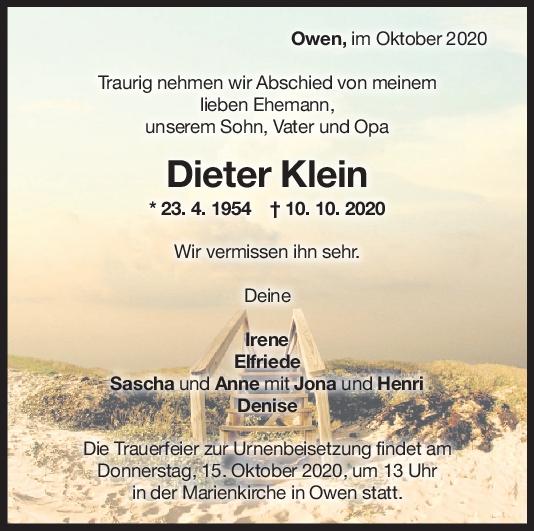 Trauer Dieter Klein <br><p style=