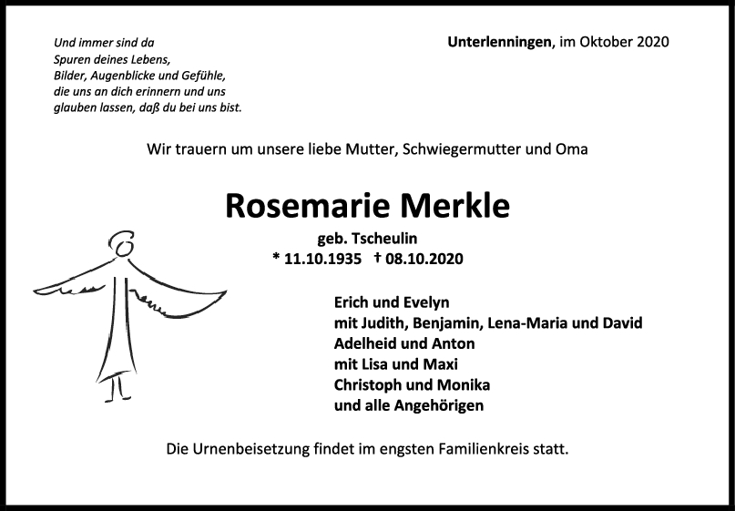 Trauer Rosemarie Merkle <br><p style=