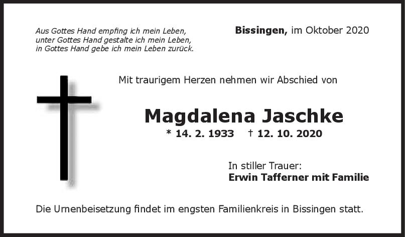 Trauer Magdalena Jaschke <br><p style=