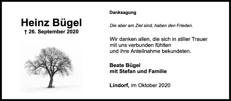 Danksagung Heinz Bügel <br><p style=