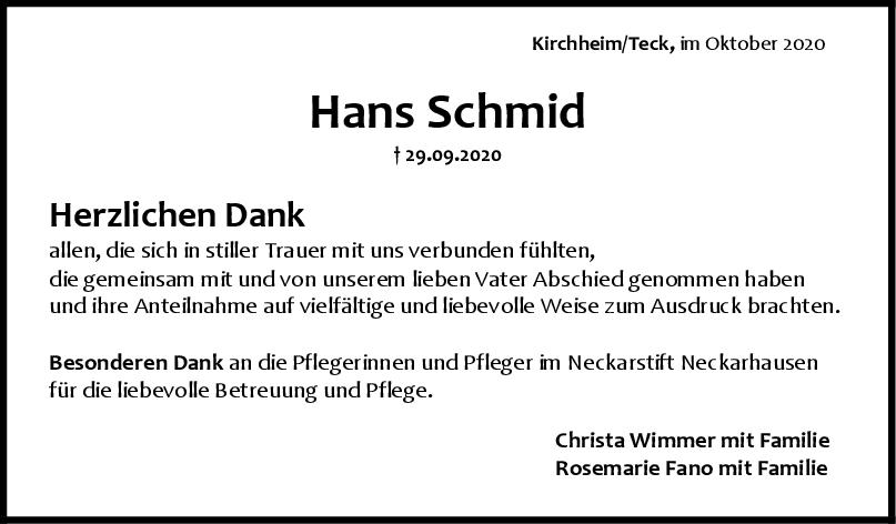Danksagung Hans Schmid <br><p style=