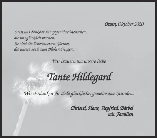 Nachruf Hildegard Streng <br><p style=