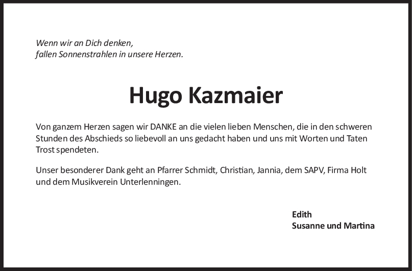 Trauer Hugo Kazmaier <br><p style=