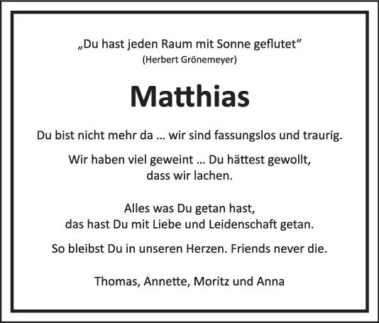 Nachruf Matthias Weiss <br><p style=